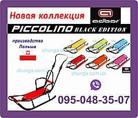 Санки PICCOLINO Black Edition зі спинкою + Ручка (з регулюванням) (зелений), фото 1