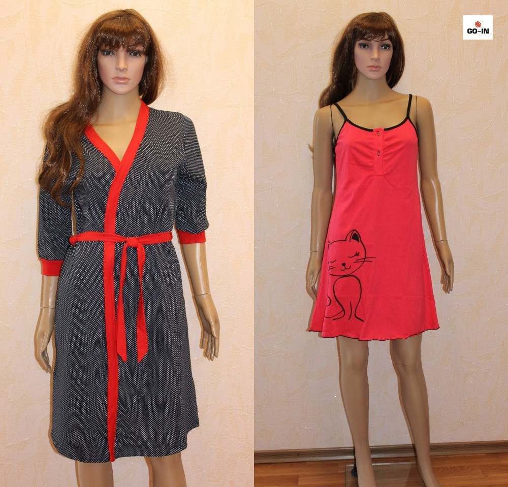 Гарний комплект жіночий халат, нічна сорочка в синій горох, для вагітних і годуючих мама 44-54р.