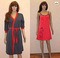 Гарний комплект жіночий халат, нічна сорочка в синій горох, для вагітних і годуючих мама 44-54р., фото 1