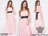 Вечірня довга сукня з сітки та атласу, фото 1