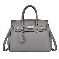 Элегантная женская сумка, качественная экокожа, серая, фото 1
