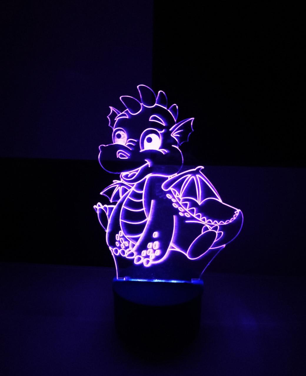 3d-світильник Дракоша, 3д-нічник, кілька підсвічувань (на батарейці)