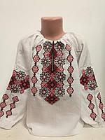 Детская белая хлопковая вышиванка для девочки с красной вышивкой Подолянка Piccolo L