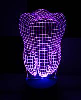3d-светильник Зуб, 3д-ночник, несколько подсветок (на батарейке)