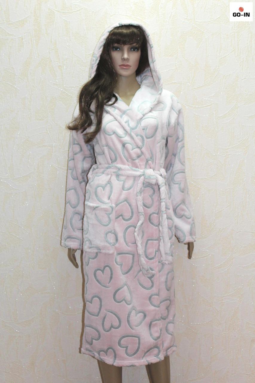 Халат жіночий рожевий махровий довгий на запах з капюшоном р. 46-50