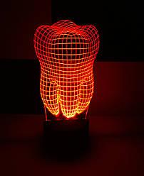 3d-светильник Зуб, 3д-ночник, несколько подсветок (батарейка+220В), подарок дантисту