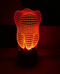 3d-світильник Зуб, 3д-нічник, кілька підсвічувань (батарейка+220В)