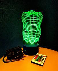 3d-світильник Зуб, 3д-нічник, кілька підсвічувань (на пульті)