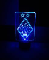 3d-светильник ФК Динамо Киев, 3д-ночник, несколько подсветок (батарейка+220В)