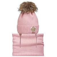 Шапка+cнуд для девочки зимняя на завязках с натуральным помпоном Корона Nikola Украина разные цвета 19Z72K