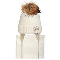 Шапка+cнуд для девочки зимняя на завязках с натуральным помпоном Корона Nikola Украина молочная 19Z72K