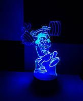 3d-светильник Волк (ну, погоди), 3д-ночник, несколько подсветок (на батарейке)