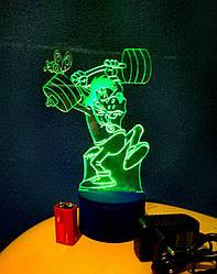 3d-світильник Вовк (Ну, постривай), 3д-нічник, кілька підсвічувань (батарейка+220В)