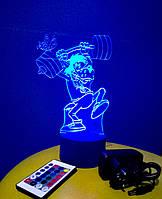 3d-светильник Волк (Ну, погоди), 3д-ночник, несколько подсветок (на пульте)