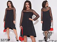 Женское платье, декорированное сеткой.. Цвет черный.(50-52, 54-56)