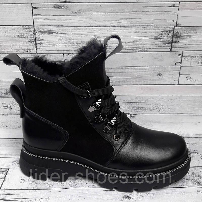 Ботинки женские зимние на шнуровке