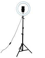 Кольцевая селфи-лампа напольная с держателем для телефона