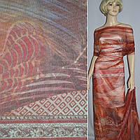 Сетка стрейч красная с оранжевым орнаментом (раппорт) (19402.001)