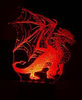 3d-светильник Дракон, 3д-ночник, несколько подсветок (на батарейке)