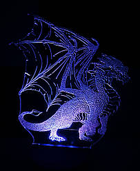 3d-светильник Дракон, 3д-ночник, несколько подсветок (батарейка+220В)