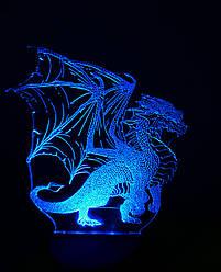 3d-світильник Дракон, 3д-нічник, кілька підсвічувань (на пульті)