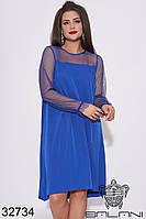 Женское платье, декорированное сеткой.. Цвет электрик..(50-52, 54-56)
