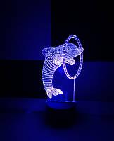 3d-светильник Дельфин с обручем, 3д-ночник, несколько подсветок (на пульте)