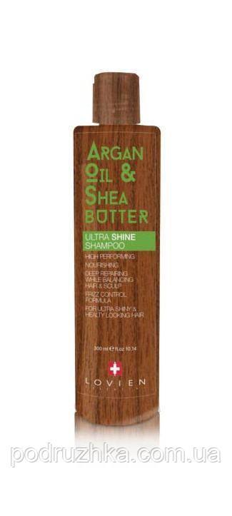 Шампунь для питания волос и придания бриллиантового блеска с маслами арганы и ши Lovien Essential Ultra shine & nourishing shampoo, 250 мл
