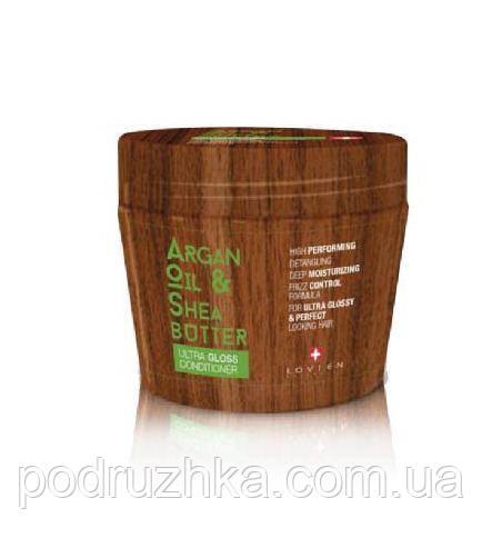 Маска для питания волос и придания бриллиантового блеска с маслами арганы и ши Lovien Essential Ultra shine cream, 250 мл