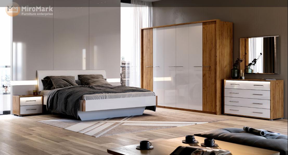 Спальня Ники (Белый Глянец / Дуб Крафт)