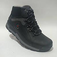 Мужские кожаные зимние ботинки Ecco реплика очень теплые, фото 1