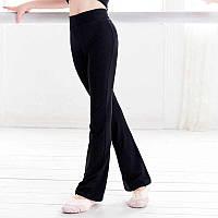 Черные трикотажные брюки для спортивных, бальных танцев,латины, йоги. Размеры на рост от 100 до 170 см