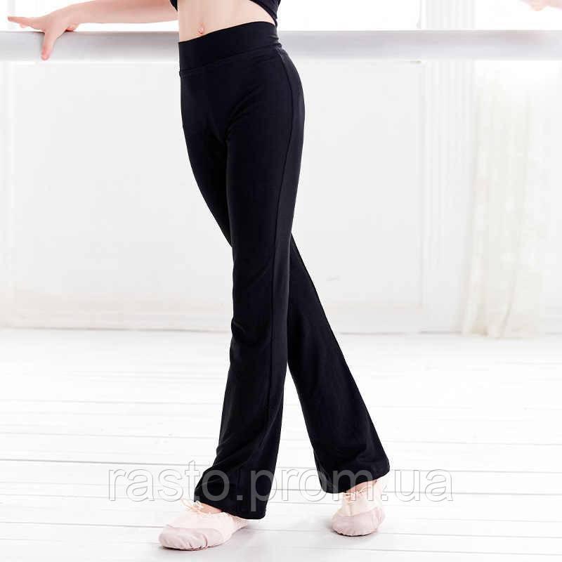 Черные трикотажные брюки для спортивных, бальных танцев,латины, йоги. Размеры на рост от 100 до 170 см - фото 1