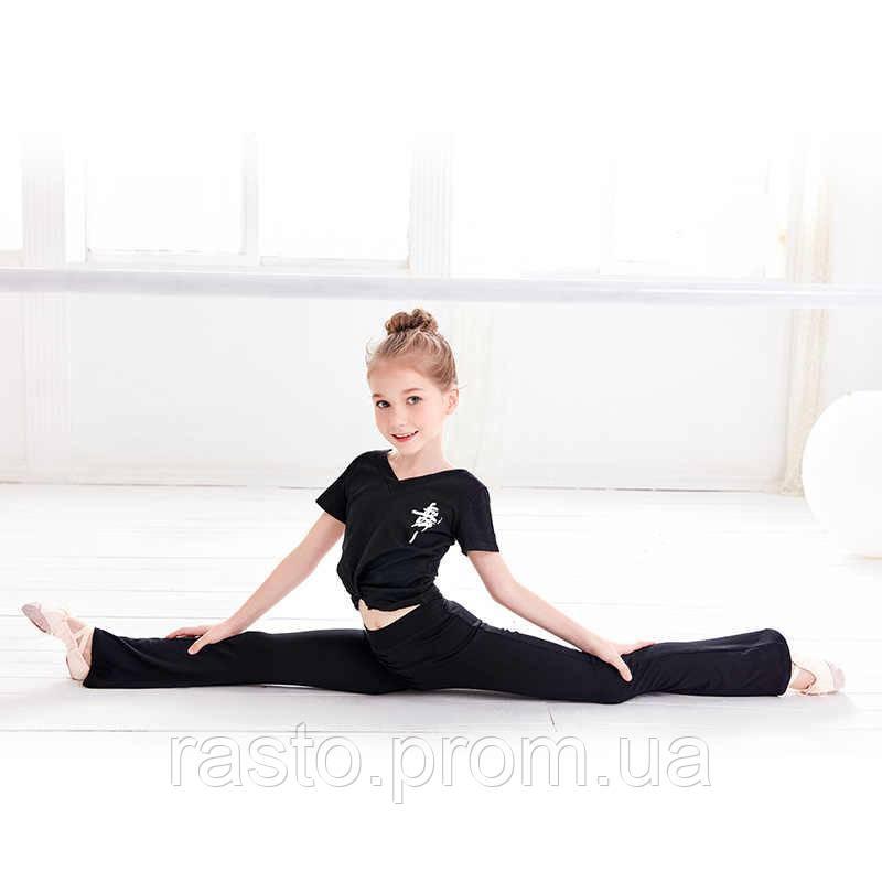 Черные трикотажные брюки для спортивных, бальных танцев,латины, йоги. Размеры на рост от 100 до 170 см - фото 2