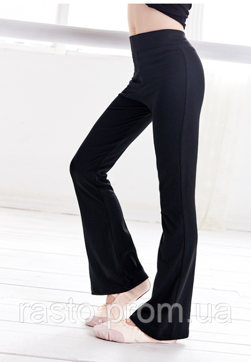 Черные трикотажные брюки для спортивных, бальных танцев,латины, йоги. Размеры на рост от 100 до 170 см - фото 7
