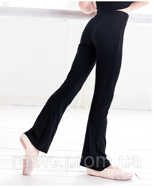 Черные трикотажные брюки для спортивных, бальных танцев,латины, йоги. Размеры на рост от 100 до 170 см - фото 8