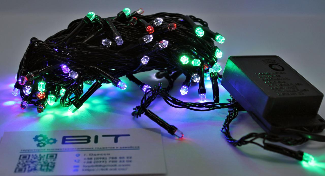 Светодиодная гирлянда 100 Led диодов 7м RGB Черный провод (LED100M-7)