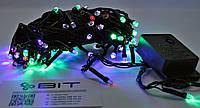 Светодиодная гирлянда 100 Led диодов 7м RGB Черный провод (LED100M-7), фото 1