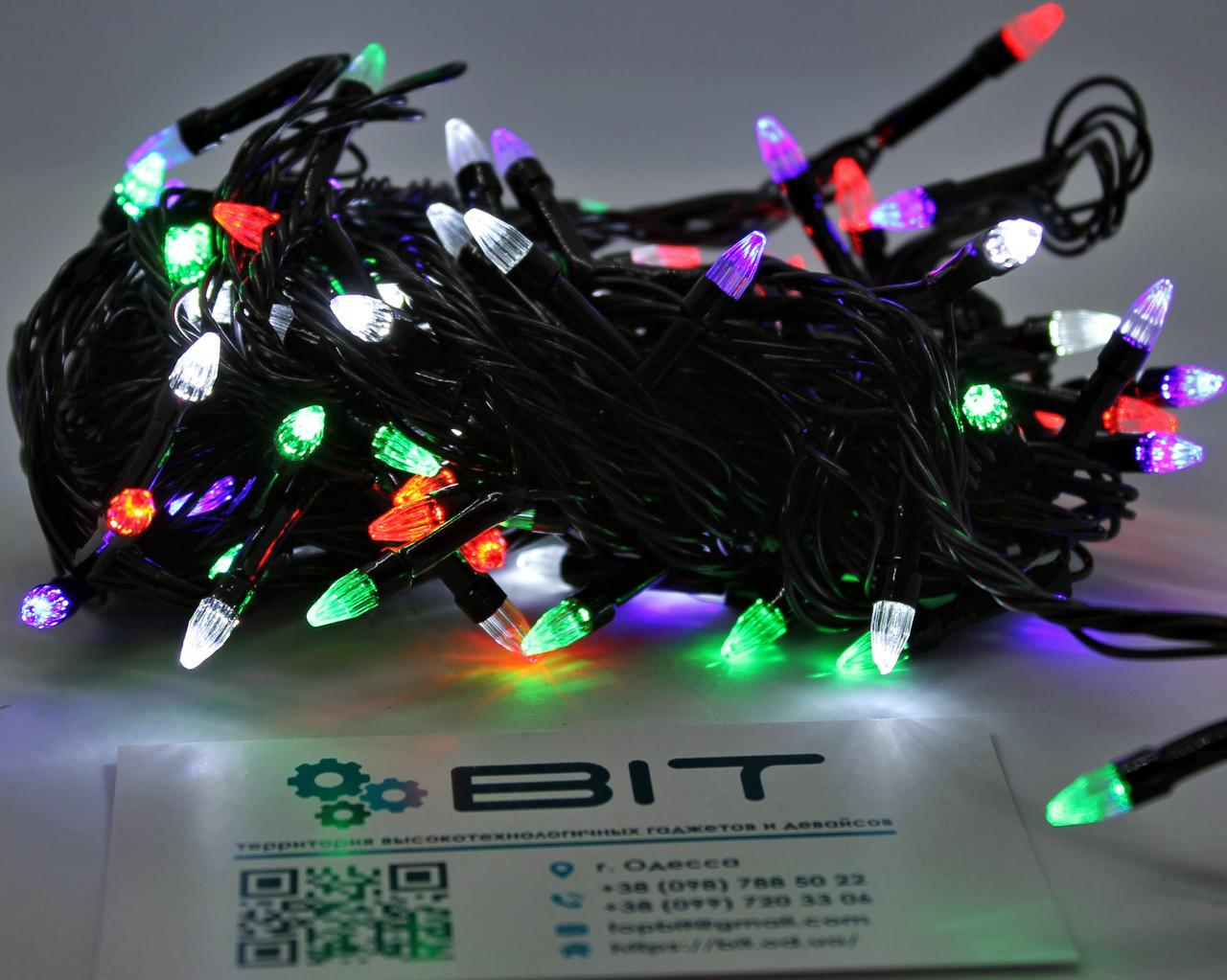 Светодиодная гирлянда 100 Led диодов 7м RGB Черный провод (LED100M-2), фото 1