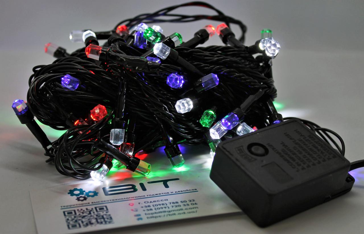 Светодиодная гирлянда 100 Led диодов 7м RGB Черный провод (LED100M-8)