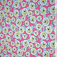 Ткань мебельная малиновая с белыми мишками ш.150 ( 20402.002 )