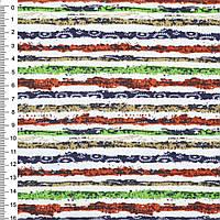 Деко-котон оранж-білі, зелено-сині смужки з точками ш.150 (20405.024)