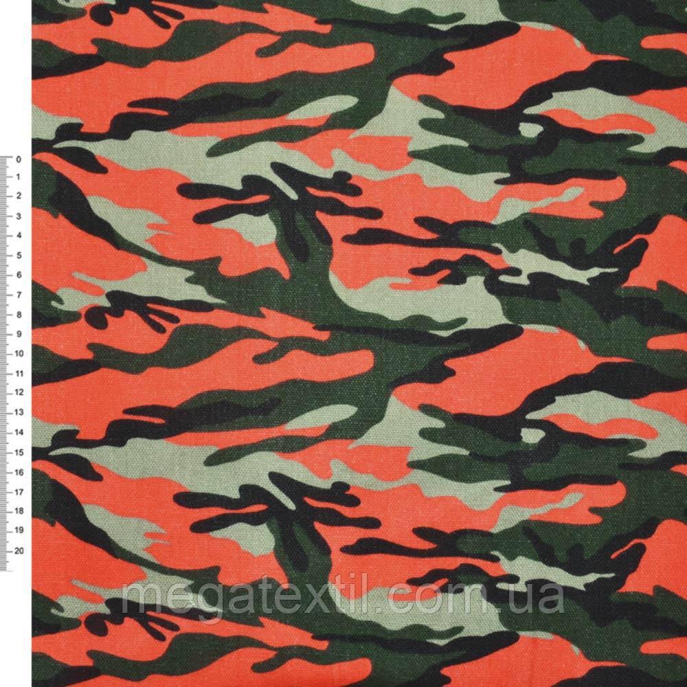 """Деко-котон оливковий зелено-помаранчевий """"камуфляж"""" ш.150 (20405.026)"""