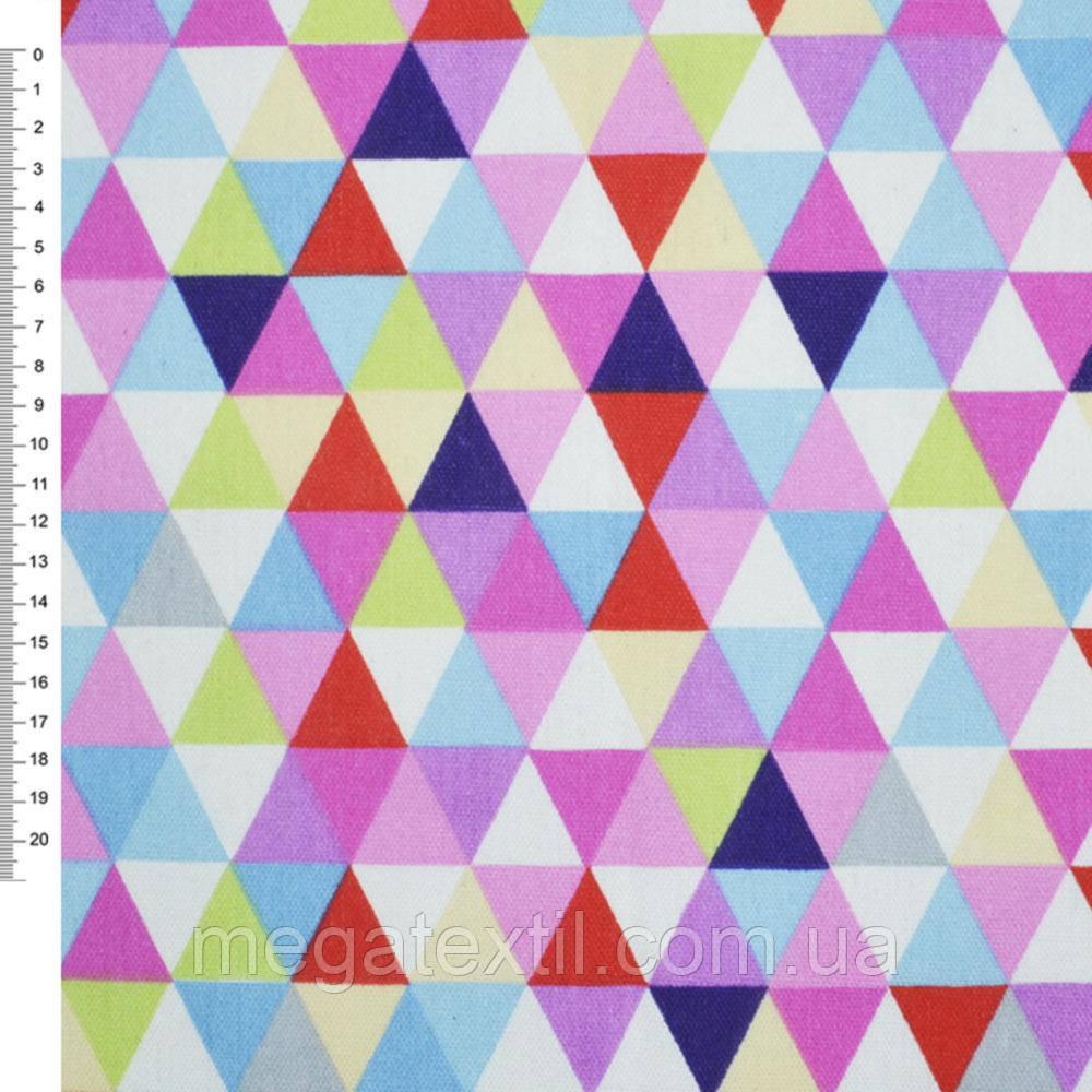 Деко-котон червоно-білі, рожево-блакитні трикутники ш.150 (20405.043)