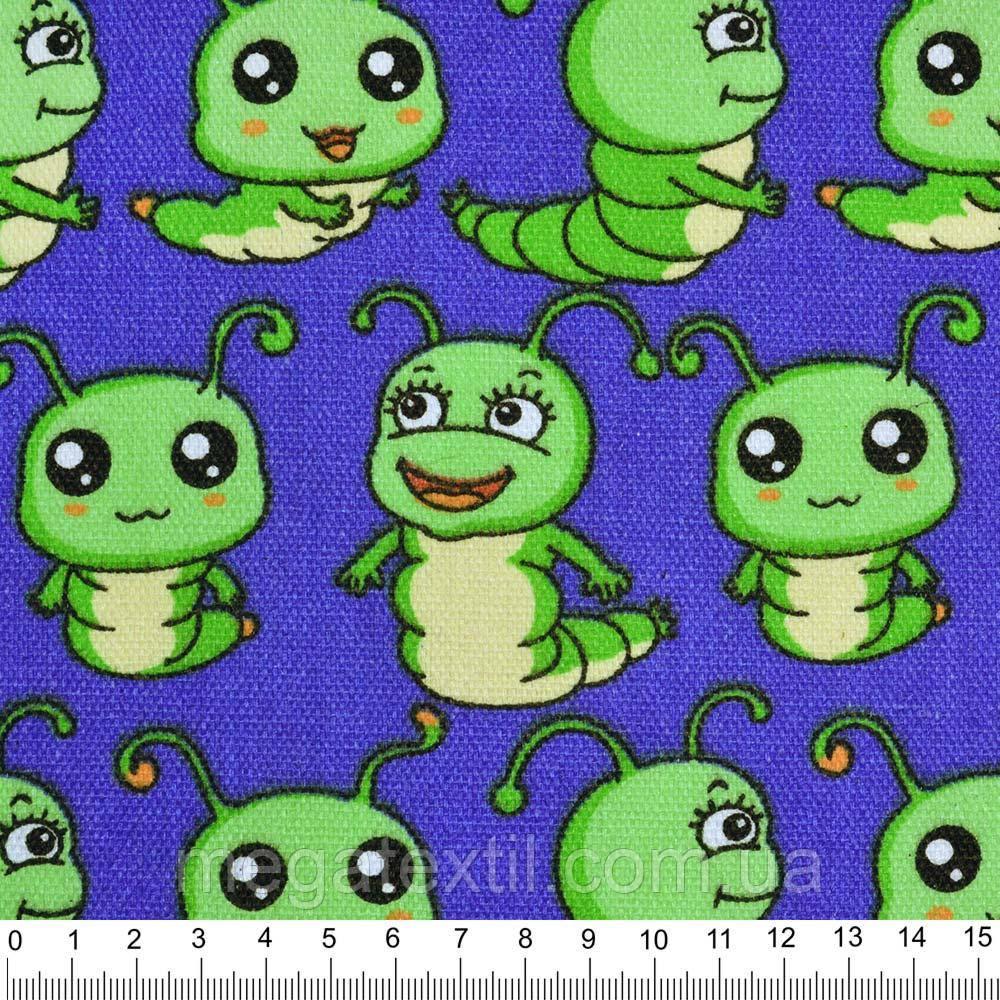 Деко-котон синій світлий з зеленими гусеницями ш.150 (20405.058)