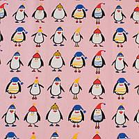 Деко-котон рожевий, пінгвіни в шапочках, ш.150 (20405.070)