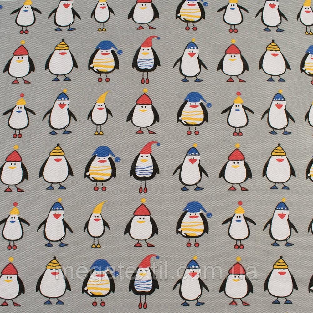 Деко-коттон серый, пингвины в шапочках, ш.150 ( 20405.071 )