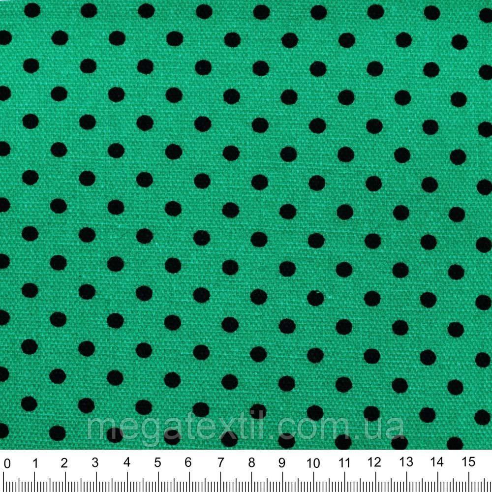Деко-котон бирюзово-зелений в чорний горох ш.150 (20405.105)