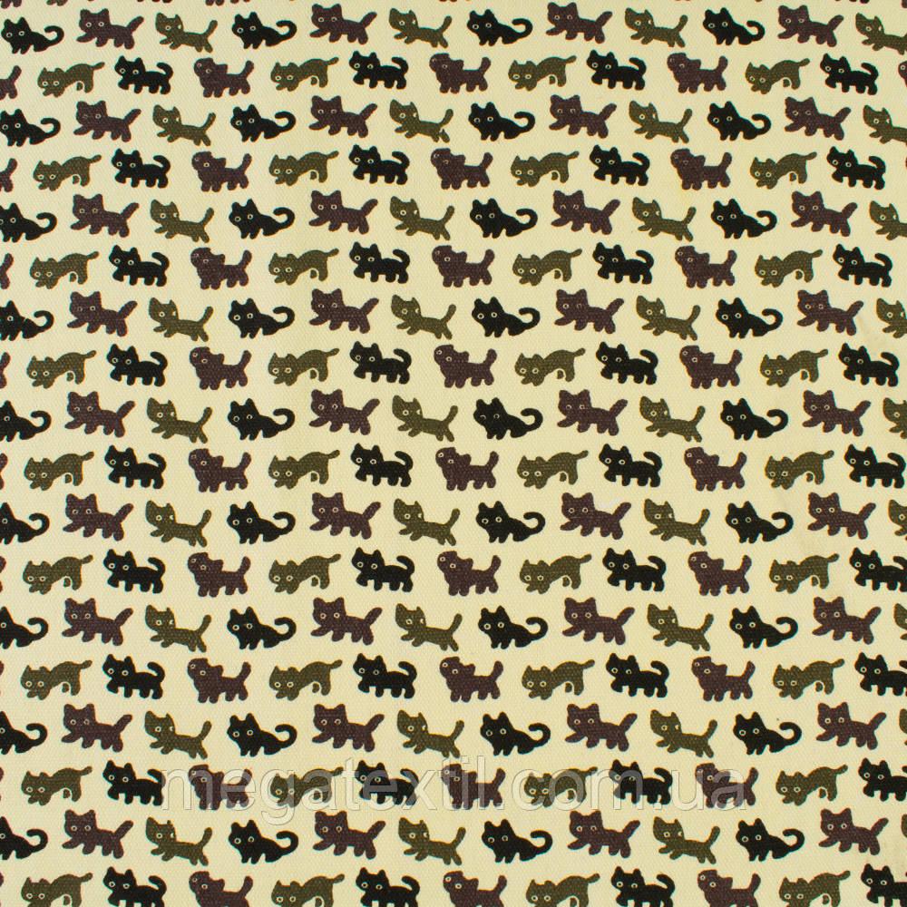 Деко-котон молочний в чорні, сірі, коричневі кішки, ш.150 (20405.128)