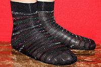 Капроновые черные носки в полоску